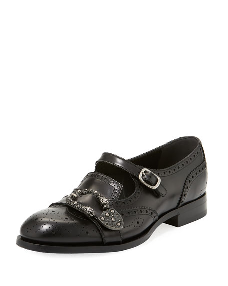 Gucci Queercore Brogue Leather Monk Shoe, Black