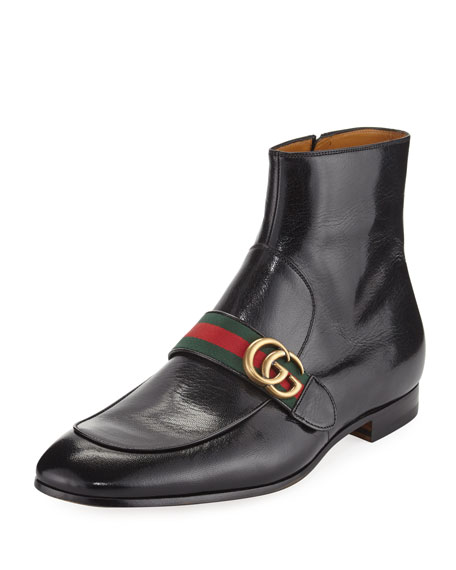 Mens Gucci Leather Double Zipper Shoe