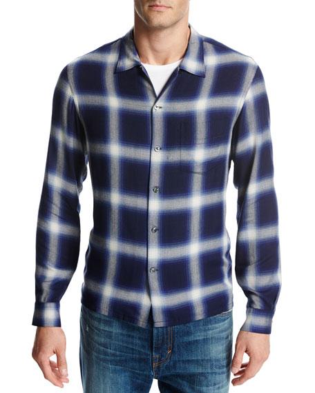 Ombré Plaid Open-Collar Shirt, Blue