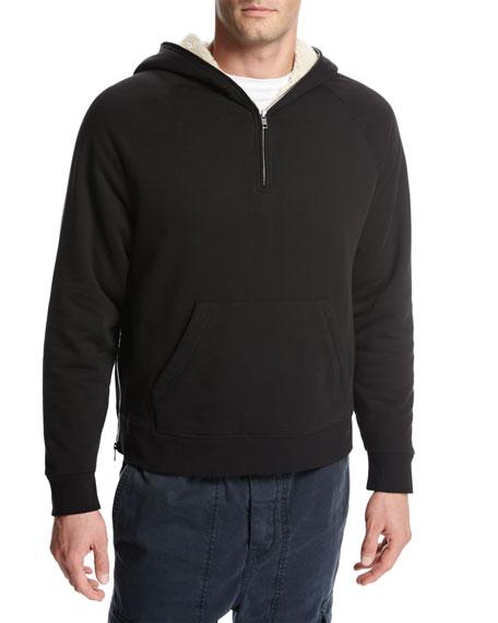 Sherpa-Lined Half-Zip Pullover Hoodie, Black