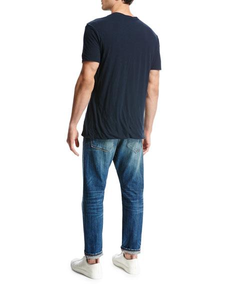 Seamless Double-Layer Crewneck T-Shirt, Blue
