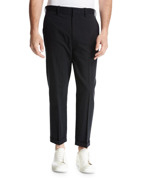 Vince Cuffed Drop-Inseam Trousers, Black