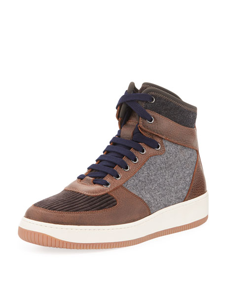 Brunello Cucinelli Wool and Leather High-Top Sneaker