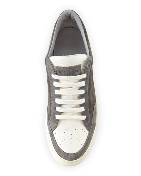 Men's Suede & Leather Low-Top Sneakers, Gray