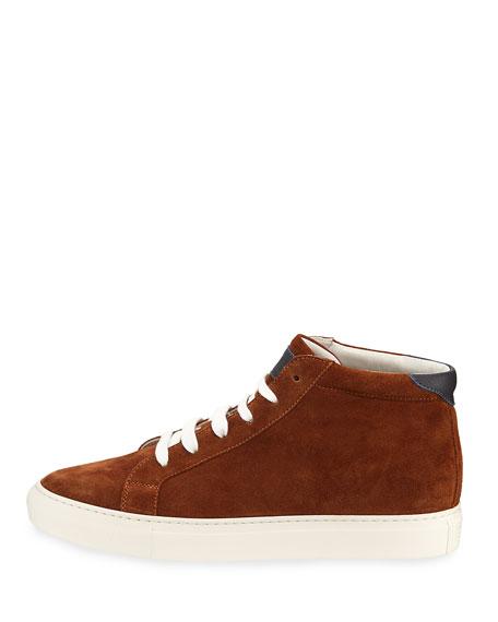 Suede High-Top Sneaker, Caramel (Brown)