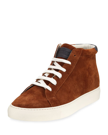 Brunello Cucinelli Suede High-Top Sneaker, Caramel (Brown)