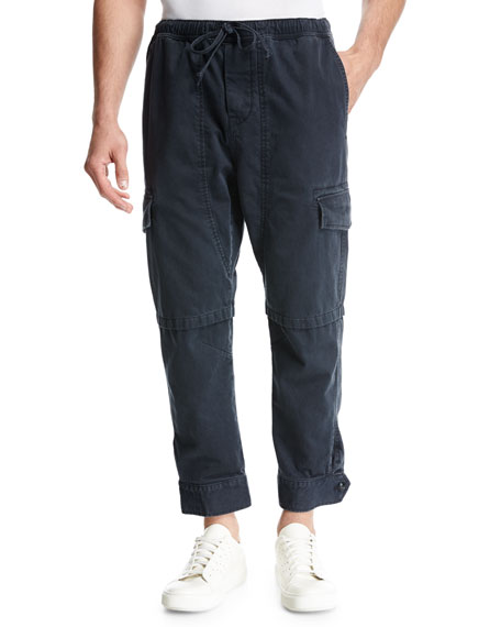 Relaxed Vintage Cotton Cargo Pants, Black