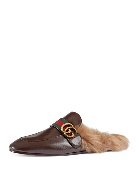 Gucci New Princetown Leather Fur-Lined Slipper with Double