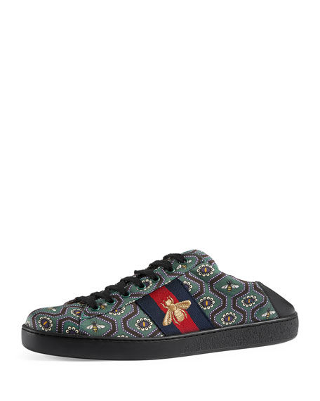 Gucci New Ace Bee-Print Sneaker, Multicolor