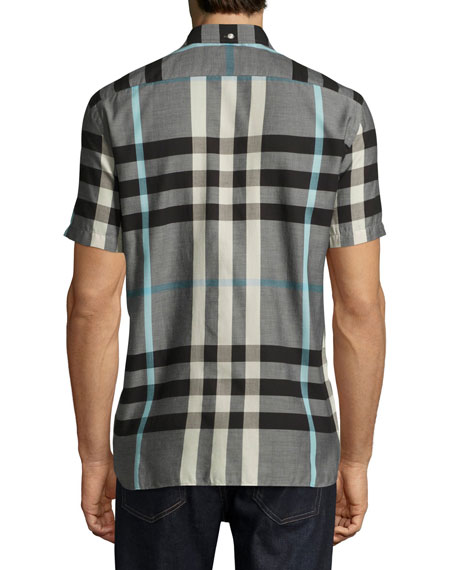 Moore Short-Sleeve Check Cotton Shirt, Mist Gray