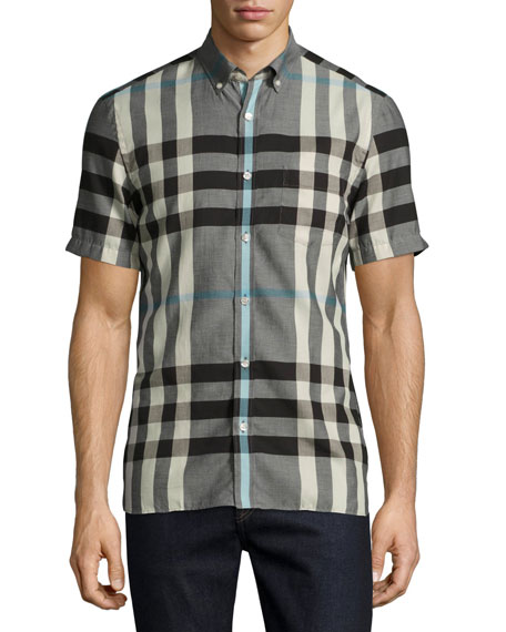 Burberry Moore Short-Sleeve Check Cotton Shirt, Mist Gray