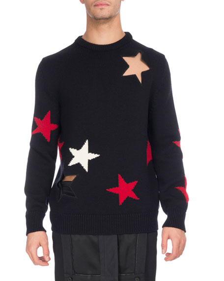Givenchy Star Cutout & Intarsia Wool Crewneck Sweater