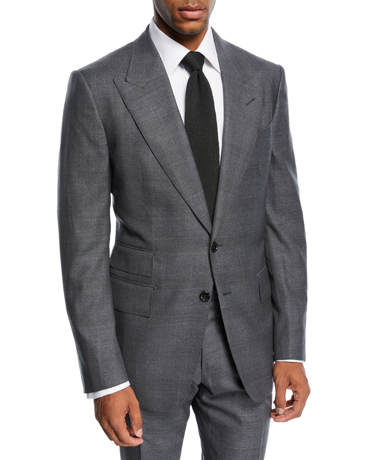 Tom Ford Shelton Tonal Prince Of Wales Plaid Wool Suit