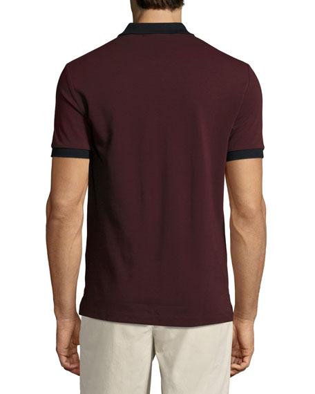 Haywood Check-Placket Cotton Pique Polo Shirt, Wine