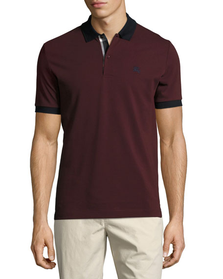 Burberry Haywood Check-Placket Cotton Pique Polo Shirt, Wine