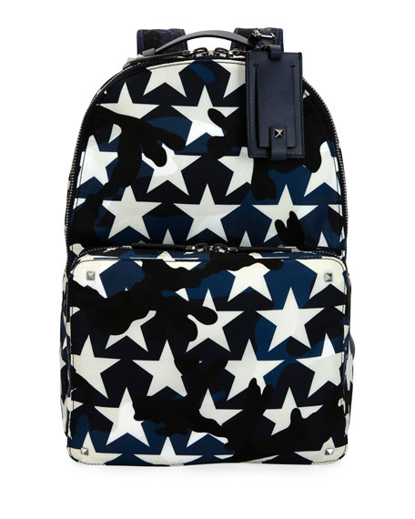 Valentino Garavani Camustars Nylon Backpack, Marine Blue