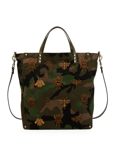 Valentino Garavani Men's Insect-Embroidered Camo Tote Bag, Green