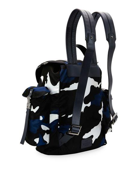 Camo-Print Nylon Backpack, Marine Blue
