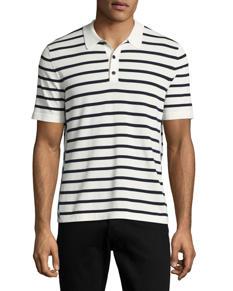 Talbot Breton-Stripe Cotton Polo Shirt, White