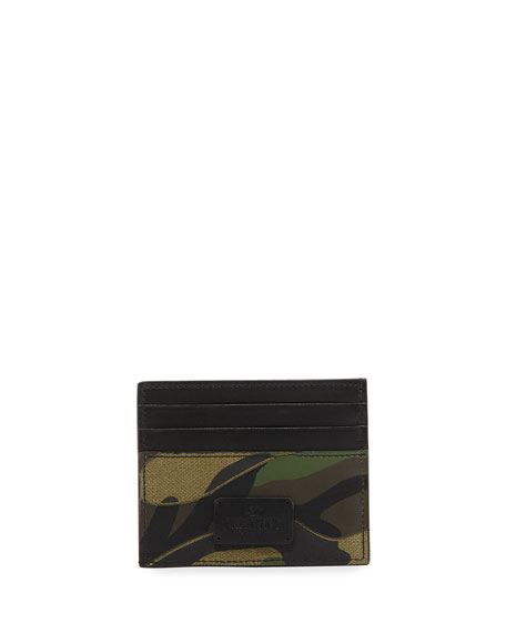 Valentino Garavani Camo Leather & Canvas Card Case