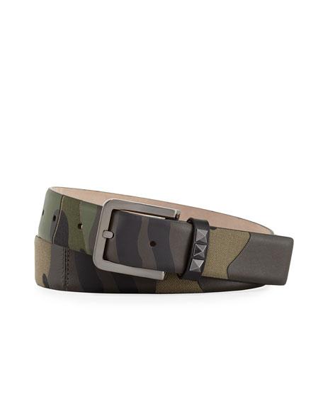 Rockstud Camu Leather & Canvas Belt