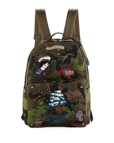 Valentino Garavani Embroidered Tattoo Camu Backpack
