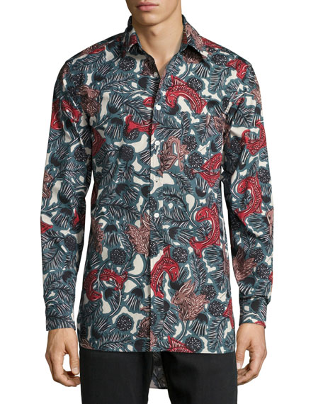 Whinfell Beasts Cotton Oxford Shirt, Blue