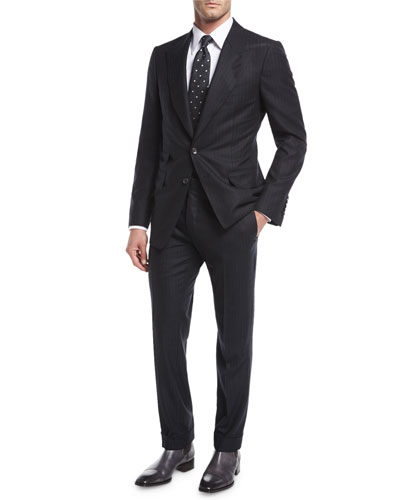Shelton Base Pinstripe Flannel Wool-Silk Two-Piece Suit