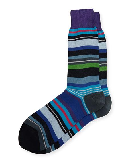 Paul Smith Cornelius Multi-Stripe Socks, Dark Purple