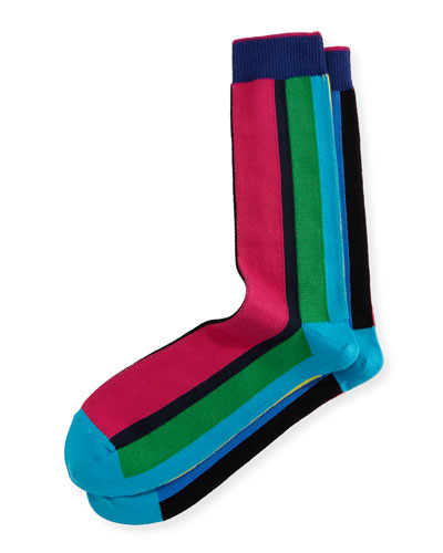 Vertical Cycle-Stripe Socks, Multicolor