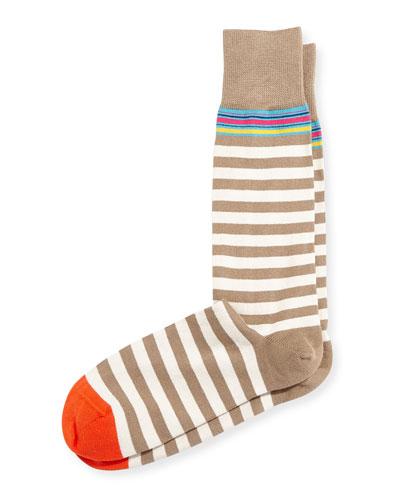 Variegated Stripe Socks, Navy