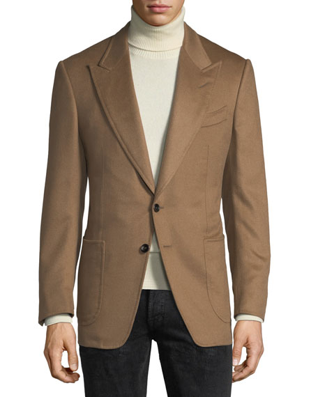 Shelton Cashmere Two-Button Blazer, Brown