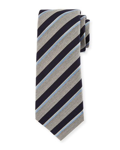Melange-Stripe Silk Tie, Gray