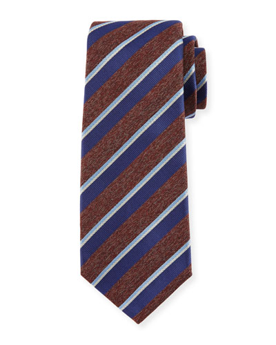 Melange-Stripe Silk Tie, Brown