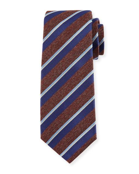 Kiton Melange-Stripe Silk Tie, Brown