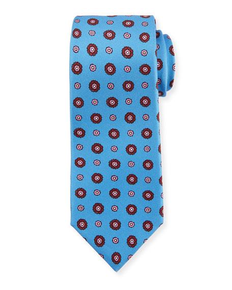 Circle Medallion Silk Tie, Blue