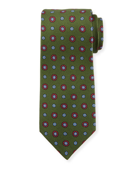 Kiton Circle Medallion Silk Tie, Green