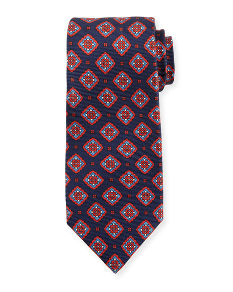 Kiton Medallion Boxes Silk Tie, Blue