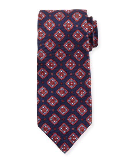 Kiton Medallion Boxes Silk Tie, Blue
