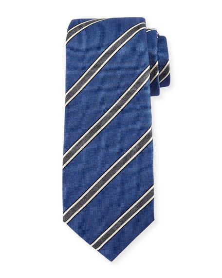 Framed-Stripe Silk Tie, Blue