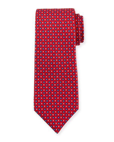 Kiton Miniature Boxes Silk Tie, Red
