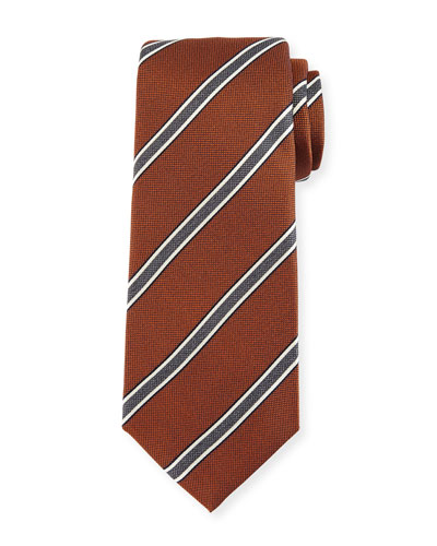 Framed-Stripe Silk Tie, Orange