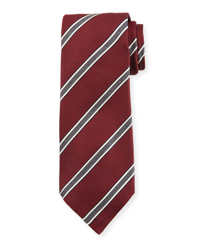 Framed Stripe Silk Tie, Red