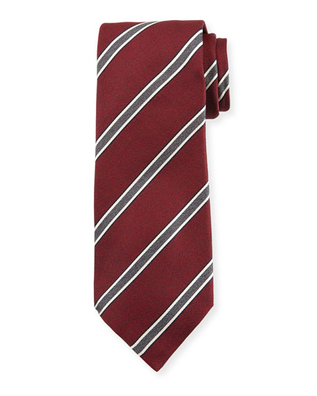 Framed Stripe Silk Tie, Red