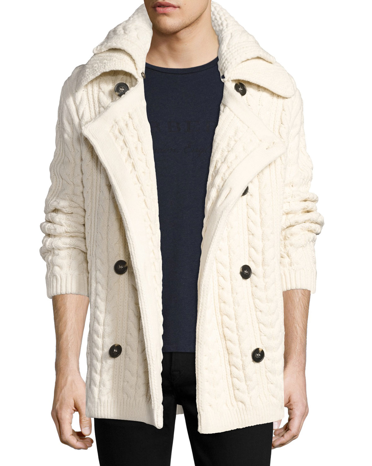 bd86bf45eb3cf6 Burberry Neyland Double-Breasted Cable-Knit Cardigan | Neiman Marcus