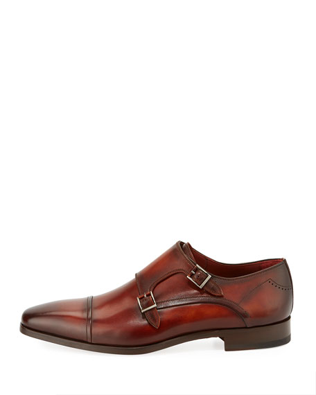 Leather Double-Monk Shoe, Cognac