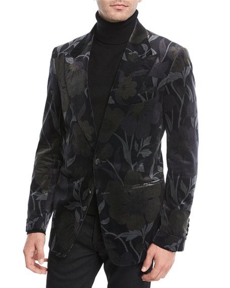 Shelton Floral-Print Velvet Dinner Jacket