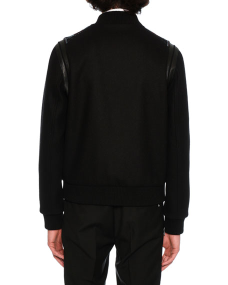 Love Blade Leather & Wool Bomber Jacket, Black