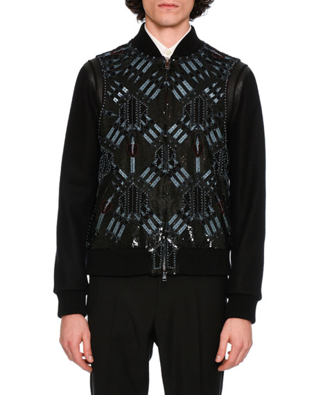 Valentino Love Blade Leather & Wool Bomber Jacket,