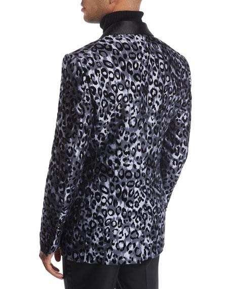 Shelton Base Leopard-Print Silk Tuxedo Jacket